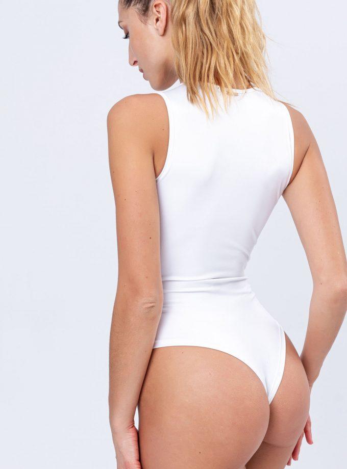 Body branco com fecho frontal dourado vista de costas