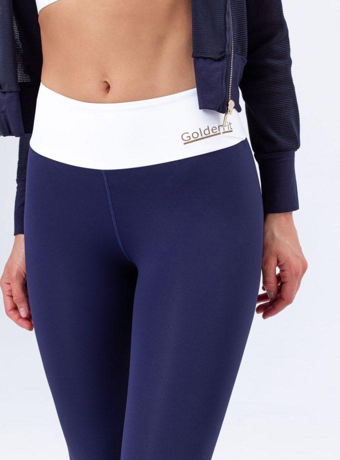 Leggings modeladoras azuis com cinto branco