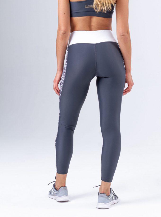 Leggings modeladoras cinzentas com estampado e detalhes em branco
