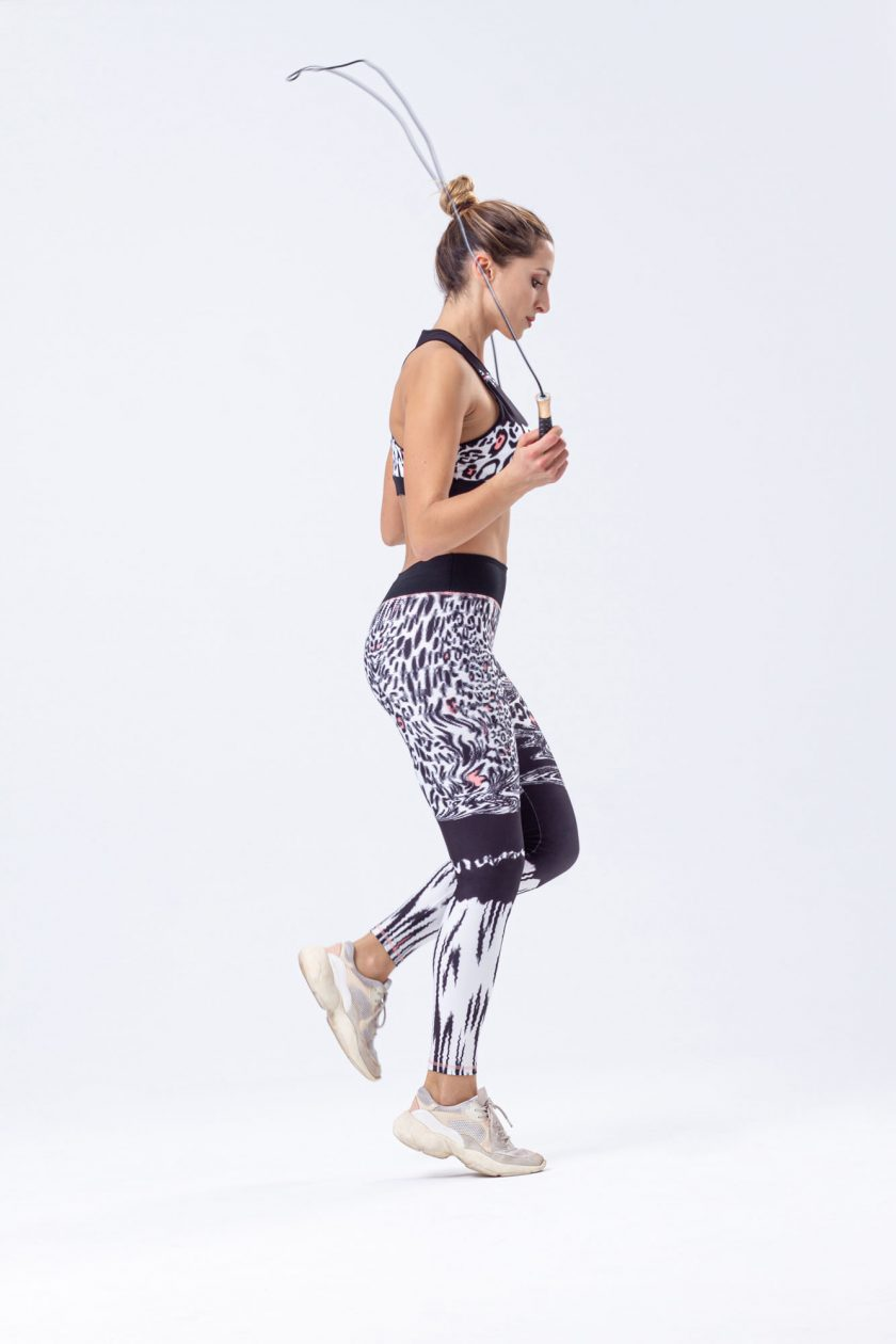 Leggins desportivas com estampado leopardo