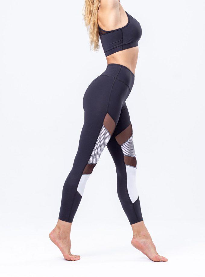 Leggings modeladoras pretas com transparências e com detalhes em branco