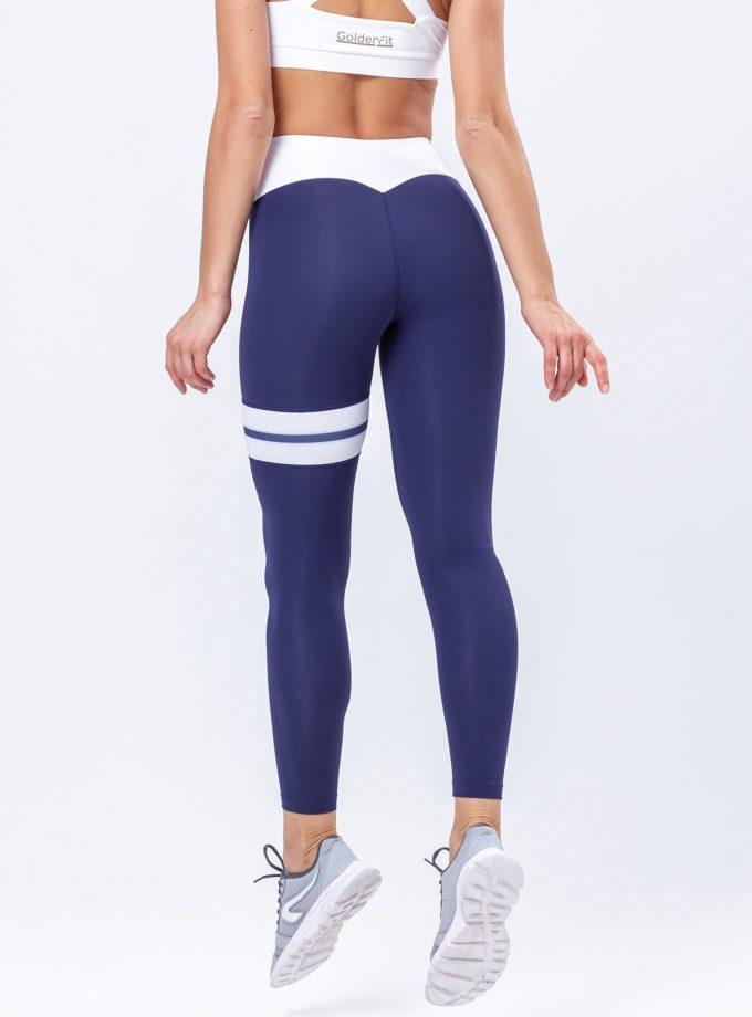Leggings modeladoras azuis com risca dupla e cinto em branco