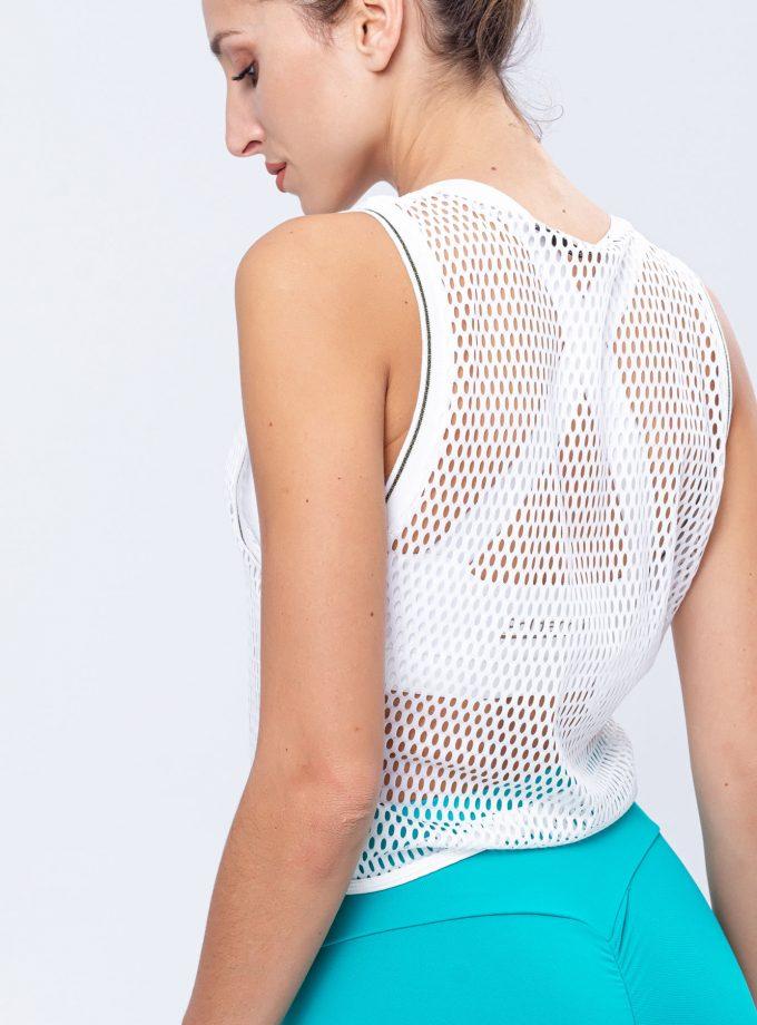 T-shirt de manga cava em rede branca - vista de pormenor